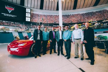 CHARLOTTE, NC - SEPTEMBER 28: (L-R) NASCAR 2018 Hall of Fame Inductee Ray Evernham, Creative Director Jay Ward, NASCAR Hall of Fame Executive Director Winston Kelley, Director Brian Fee, NASCAR Hall of Fame Director of Exhibits Kevin Schlesier, NASCAR Hall of Fame Historian Buz McKim and Producer Kevin Reher