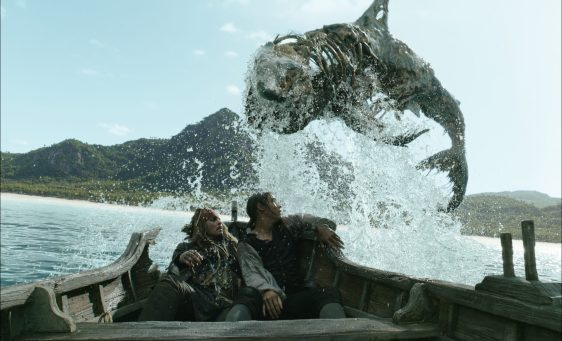"""""""PIRATES OF THE CARIBBEAN: DEAD MEN TELL NO TALES""""..The villainous Captain Salazar (Javier Bardem) pursues Jack Sparrow (Johnny Depp) as he searches for the trident used by Poseidon..Pictured L to R: Captain Jack Sparrow (Johnny Depp) and Henry Turner (Brenton Thwaites)..Ph: Film Frame..© Disney Enterprises, Inc. All Rights Reserved."""