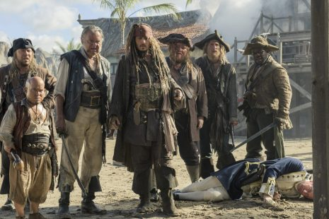 """PIRATES OF THE CARIBBEAN: DEAD MEN TELL NO TALES""..The villainous Captain Salazar (Javier Bardem) pursues Jack Sparrow (Johnny Depp) as he searches for the trident used by Poseidon..Pictured L to R: Scrum (Stephen Graham), Marty (Martin Klebba), Gibbs (Kevin McNally), Captain Jack Sparrow (Johnny Depp), Bollard (Danny Kirrane), Cremble (Adam Brown) and Pike (Delroy Atkinson)..Ph: Peter Mountain..© Disney Enterprises, Inc. All Rights Reserved."