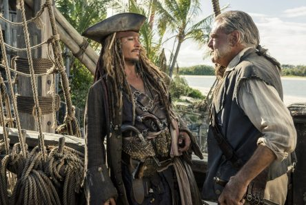 """""""PIRATES OF THE CARIBBEAN: DEAD MEN TELL NO TALES""""..The villainous Captain Salazar (Javier Bardem) pursues Jack Sparrow (Johnny Depp) as he searches for the trident used by Poseidon..Pictured L to R: Captain Jack Sparrow (Johnny Depp) and Gibbs (Kevin McNally)..Ph: Peter Mountain..© Disney Enterprises, Inc. All Rights Reserved."""