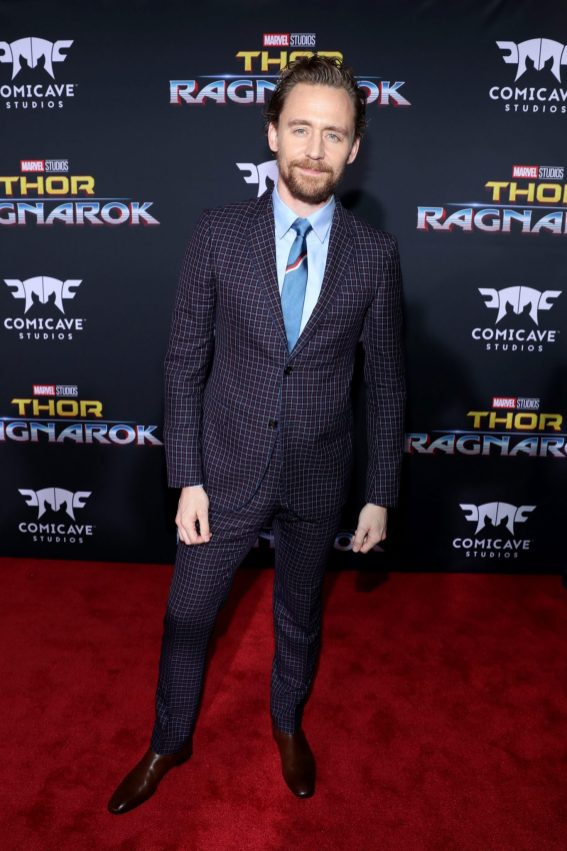 "HOLLYWOOD, CA - OCTOBER 10: Actor Tom Hiddleston at The World Premiere of Marvel Studios' ""Thor: Ragnarok"" at the El Capitan Theatre on October 10, 2017 in Hollywood, California. (Photo by Rich Polk/Getty Images for Disney) *** Local Caption *** Tom Hiddleston"