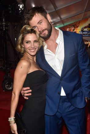"HOLLYWOOD, CA - OCTOBER 10: Elsa Pataky and actor Chris Hemsworth at The World Premiere of Marvel Studios' ""Thor: Ragnarok"" at the El Capitan Theatre on October 10, 2017 in Hollywood, California. (Photo by Alberto E. Rodriguez/Getty Images for Disney) *** Local Caption *** Elsa Pataky; Chris Hemsworth"