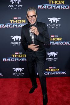 "HOLLYWOOD, CA - OCTOBER 10: Actor Jeff Goldblum at The World Premiere of Marvel Studios' ""Thor: Ragnarok"" at the El Capitan Theatre on October 10, 2017 in Hollywood, California. (Photo by Rich Polk/Getty Images for Disney) *** Local Caption *** Jeff Goldblum"