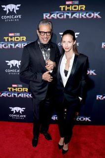 """HOLLYWOOD, CA - OCTOBER 10: Actor Jeff Goldblum (L) and dancer Emilie Livingston at The World Premiere of Marvel Studios' """"Thor: Ragnarok"""" at the El Capitan Theatre on October 10, 2017 in Hollywood, California. (Photo by Rich Polk/Getty Images for Disney) *** Local Caption *** Jeff Goldblum; Emilie Livingston"""