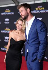 "HOLLYWOOD, CA - OCTOBER 10: Elsa Pataky and actor Chris Hemsworth at The World Premiere of Marvel Studios' ""Thor: Ragnarok"" at the El Capitan Theatre on October 10, 2017 in Hollywood, California. (Photo by Rich Polk/Getty Images for Disney) *** Local Caption *** Elsa Pataky; Chris Hemsworth"