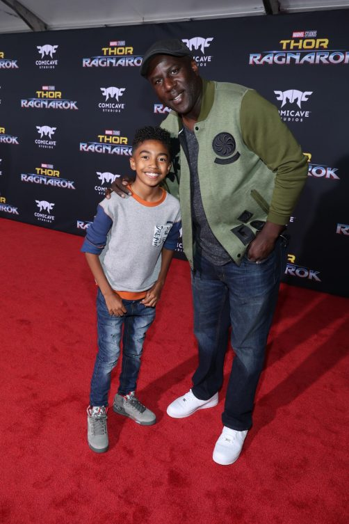 """HOLLYWOOD, CA - OCTOBER 10: Actor Miles Brown (L) and Jack Brown at The World Premiere of Marvel Studios' """"Thor: Ragnarok"""" at the El Capitan Theatre on October 10, 2017 in Hollywood, California. (Photo by Rich Polk/Getty Images for Disney) *** Local Caption *** Miles Brown; Jack Brown"""