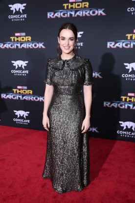 "HOLLYWOOD, CA - OCTOBER 10: Elizabeth Henstridge at The World Premiere of Marvel Studios' ""Thor: Ragnarok"" at the El Capitan Theatre on October 10, 2017 in Hollywood, California. (Photo by Rich Polk/Getty Images for Disney) *** Local Caption *** Elizabeth Henstridge"