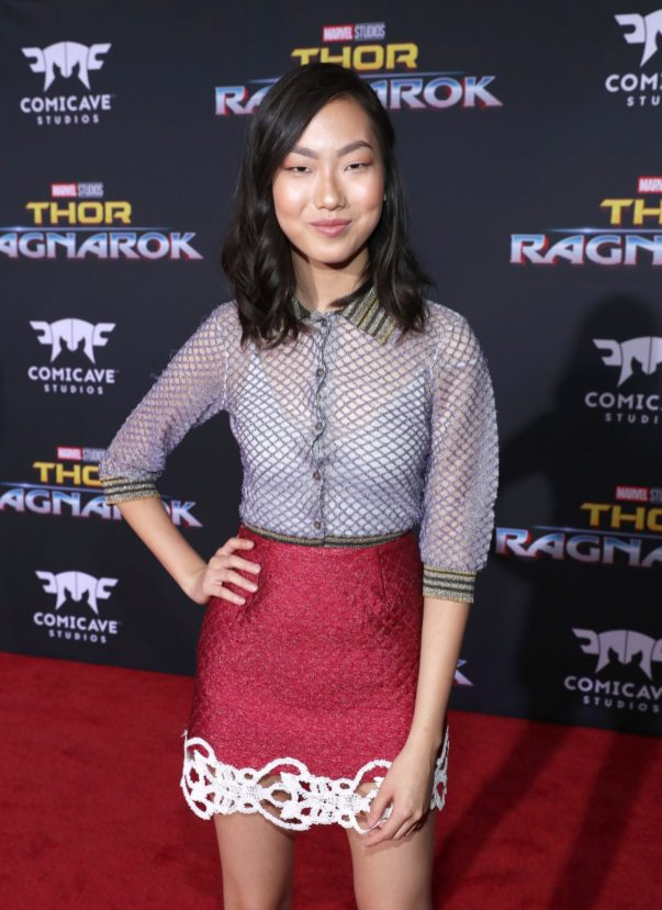 "HOLLYWOOD, CA - OCTOBER 10: Actor Madison Hu at The World Premiere of Marvel Studios' ""Thor: Ragnarok"" at the El Capitan Theatre on October 10, 2017 in Hollywood, California. (Photo by Rich Polk/Getty Images for Disney) *** Local Caption *** Madison Hu"