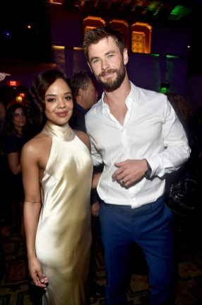 "HOLLYWOOD, CA - OCTOBER 10: Actors Tessa Thompson (L) and Chris Hemsworth at The World Premiere of Marvel Studios' ""Thor: Ragnarok"" at the El Capitan Theatre on October 10, 2017 in Hollywood, California. (Photo by Alberto E. Rodriguez/Getty Images for Disney) *** Local Caption *** Tessa Thompson; Chris Hemsworth"