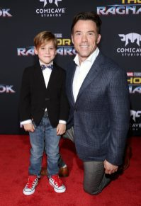 "HOLLYWOOD, CA - OCTOBER 10: Terry Notary (R) and son at The World Premiere of Marvel Studios' ""Thor: Ragnarok"" at the El Capitan Theatre on October 10, 2017 in Hollywood, California. (Photo by Rich Polk/Getty Images for Disney) *** Local Caption *** Terry Notary"