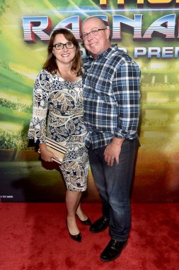 """HOLLYWOOD, CA - OCTOBER 10: Executive producer Victoria Alonso (L) and writer Craig Kyle at The World Premiere of Marvel Studios' """"Thor: Ragnarok"""" at the El Capitan Theatre on October 10, 2017 in Hollywood, California. (Photo by Alberto E. Rodriguez/Getty Images for Disney) *** Local Caption *** Craig Kyle; Victoria Alonso"""