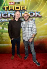 "HOLLYWOOD, CA - OCTOBER 10: Composers Tom MacDougall (L) and Michael Giacchino at The World Premiere of Marvel Studios' ""Thor: Ragnarok"" at the El Capitan Theatre on October 10, 2017 in Hollywood, California. (Photo by Alberto E. Rodriguez/Getty Images for Disney) *** Local Caption *** Tom MacDougall; Michael Giacchino"