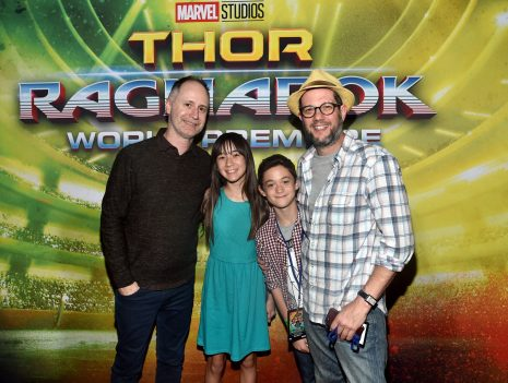 "HOLLYWOOD, CA - OCTOBER 10: Composers Tom MacDougall (far L) and Michael Giacchino (far R) at The World Premiere of Marvel Studios' ""Thor: Ragnarok"" at the El Capitan Theatre on October 10, 2017 in Hollywood, California. (Photo by Alberto E. Rodriguez/Getty Images for Disney) *** Local Caption *** Tom MacDougall; Michael Giacchino"