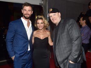 """HOLLYWOOD, CA - OCTOBER 10: (L-R) Actor Chris Hemsworth, Elsa Pataky, and producer Kevin Feige at The World Premiere of Marvel Studios' """"Thor: Ragnarok"""" at the El Capitan Theatre on October 10, 2017 in Hollywood, California. (Photo by Alberto E. Rodriguez/Getty Images for Disney) *** Local Caption *** Chris Hemsworth; Elsa Pataky; Kevin Feige"""