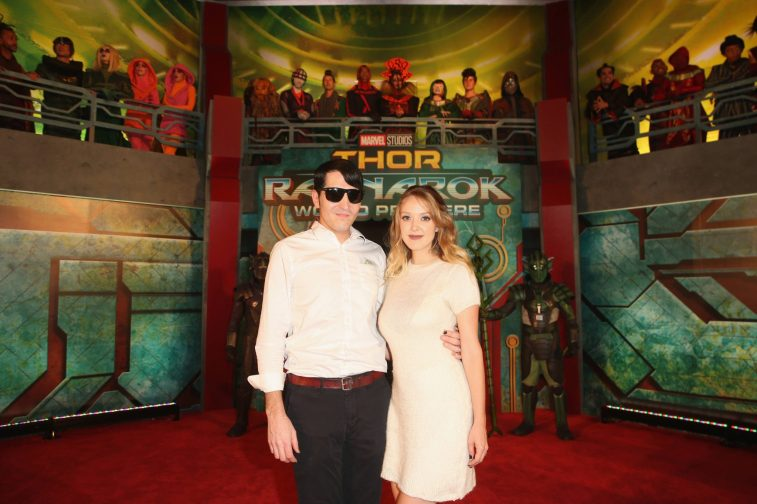 """HOLLYWOOD, CA - OCTOBER 10: Actor David Dastmalchian (L) and Evelyn Leigh at The World Premiere of Marvel Studios' """"Thor: Ragnarok"""" at the El Capitan Theatre on October 10, 2017 in Hollywood, California. (Photo by Jesse Grant/Getty Images for Disney) *** Local Caption *** Evelyn Leigh; David Dastmalchian"""