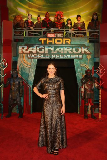 """HOLLYWOOD, CA - OCTOBER 10: Actor Elizabeth Henstridge at The World Premiere of Marvel Studios' """"Thor: Ragnarok"""" at the El Capitan Theatre on October 10, 2017 in Hollywood, California. (Photo by Jesse Grant/Getty Images for Disney) *** Local Caption *** Elizabeth Henstridge"""