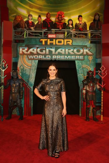 "HOLLYWOOD, CA - OCTOBER 10: Actor Elizabeth Henstridge at The World Premiere of Marvel Studios' ""Thor: Ragnarok"" at the El Capitan Theatre on October 10, 2017 in Hollywood, California. (Photo by Jesse Grant/Getty Images for Disney) *** Local Caption *** Elizabeth Henstridge"