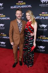 """HOLLYWOOD, CA - OCTOBER 10: Actors Chris Hardwick (L) and Lydia Hearst at The World Premiere of Marvel Studios' """"Thor: Ragnarok"""" at the El Capitan Theatre on October 10, 2017 in Hollywood, California. (Photo by Rich Polk/Getty Images for Disney) *** Local Caption *** Chris Hardwick; Lydia Hearst"""