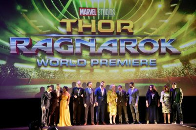 "HOLLYWOOD, CA - OCTOBER 10: (L-R) Executive producer Louis D'Esposito, Director Taika Waititi, actors Tessa Thompson, Jeff Goldblum, Tom Hiddleston, Chris Hemsworth, Cate Blanchett, Mark Ruffalo, Karl Urban, Rachel House, Executive producer Victoria Alonso and Producer Kevin Feige at The World Premiere of Marvel Studios' ""Thor: Ragnarok"" at the El Capitan Theatre on October 10, 2017 in Hollywood, California. (Photo by Alberto E. Rodriguez/Getty Images for Disney) *** Local Caption *** Louis D'Esposito; Taika Waititi; Tessa Thompson; Jeff Goldblum; Tom Hiddleston; Chris Hemsworth; Cate Blanchett; Mark Ruffalo; Karl Urban; Rachel House; Victoria Alonso; Kevin Feige"