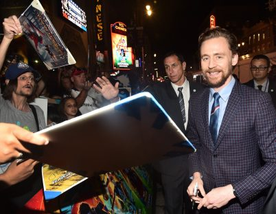 "HOLLYWOOD, CA - OCTOBER 10: Actor Tom Hiddleston at The World Premiere of Marvel Studios' ""Thor: Ragnarok"" at the El Capitan Theatre on October 10, 2017 in Hollywood, California. (Photo by Alberto E. Rodriguez/Getty Images for Disney) *** Local Caption *** Tom Hiddleston"