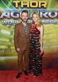 "HOLLYWOOD, CA - OCTOBER 10: Actors Chris Hardwick (L) and Lydia Hearst at The World Premiere of Marvel Studios' ""Thor: Ragnarok"" at the El Capitan Theatre on October 10, 2017 in Hollywood, California. (Photo by Alberto E. Rodriguez/Getty Images for Disney) *** Local Caption *** Chris Hardwick; Lydia Hearst"