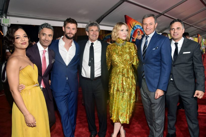 "HOLLYWOOD, CA - OCTOBER 10: (L-R) Actor Tessa Thompson, Director Taika Waititi, Actor Chris Hemsworth, Chairman, The Walt Disney Studios, Alan Horn, Actor Cate Blanchett, The Walt Disney Company Chairman and CEO, Bob Iger and Actor Mark Ruffalo at The World Premiere of Marvel Studios' ""Thor: Ragnarok"" at the El Capitan Theatre on October 10, 2017 in Hollywood, California. (Photo by Alberto E. Rodriguez/Getty Images for Disney) *** Local Caption *** Tessa Thompson; Taika Waititi; Chris Hemsworth; Alan Horn; Cate Blanchett; Bob Iger; Mark Ruffalo"