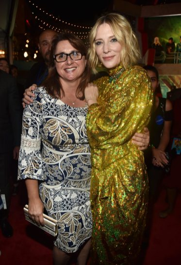 "HOLLYWOOD, CA - OCTOBER 10: Executive producer Victoria Alonso (L) and Actor Cate Blanchett at The World Premiere of Marvel Studios' ""Thor: Ragnarok"" at the El Capitan Theatre on October 10, 2017 in Hollywood, California. (Photo by Alberto E. Rodriguez/Getty Images for Disney) *** Local Caption *** Victoria Alonso; Cate Blanchett"