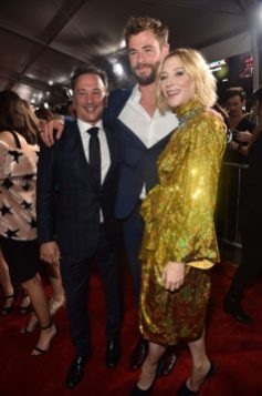 "HOLLYWOOD, CA - OCTOBER 10: (L-R) Executive producer Louis D'Esposito, actors Chris Hemsworth and Cate Blanchett at The World Premiere of Marvel Studios' ""Thor: Ragnarok"" at the El Capitan Theatre on October 10, 2017 in Hollywood, California. (Photo by Alberto E. Rodriguez/Getty Images for Disney) *** Local Caption *** Louis D'Esposito; Chris Hemsworth; Cate Blanchett"