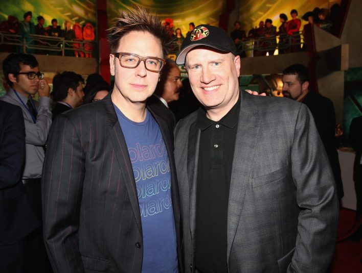 """HOLLYWOOD, CA - OCTOBER 10: Screenwriter James Gunn (L) and Producer Kevin Feige at The World Premiere of Marvel Studios' """"Thor: Ragnarok"""" at the El Capitan Theatre on October 10, 2017 in Hollywood, California. (Photo by Jesse Grant/Getty Images for Disney) *** Local Caption *** James Gunn; Kevin Feige"""