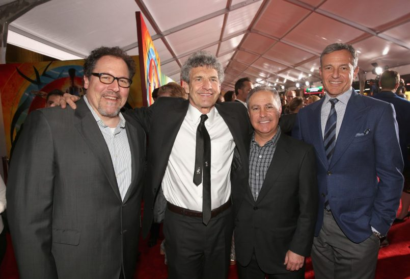 "HOLLYWOOD, CA - OCTOBER 10: (L-R) Director/producer Jon Favreau, Chairman, The Walt Disney Studios, Alan Horn, Walt Disney Studios President, Alan Bergman and The Walt Disney Company Chairman and CEO, Bob Iger at The World Premiere of Marvel Studios' ""Thor: Ragnarok"" at the El Capitan Theatre on October 10, 2017 in Hollywood, California. (Photo by Jesse Grant/Getty Images for Disney) *** Local Caption *** Jon Favreau; Alan Horn; Alan Bergman; Bob Iger"