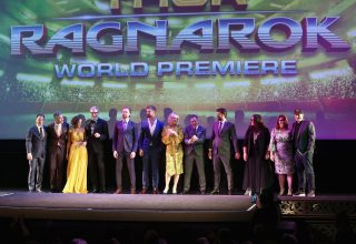 """HOLLYWOOD, CA - OCTOBER 10: (L-R) Executive producer Louis D'Esposito, Director Taika Waititi, actors Tessa Thompson, Jeff Goldblum, Tom Hiddleston, Chris Hemsworth, Cate Blanchett, Mark Ruffalo, Karl Urban, Rachel House, Executive producer Victoria Alonso and Producer Kevin Feige at The World Premiere of Marvel Studios' """"Thor: Ragnarok"""" at the El Capitan Theatre on October 10, 2017 in Hollywood, California. (Photo by Jesse Grant/Getty Images for Disney) *** Local Caption *** Louis D'Esposito; Taika Waititi; Tessa Thompson; Jeff Goldblum; Tom Hiddleston; Chris Hemsworth; Cate Blanchett; Mark Ruffalo; Karl Urban; Rachel House; Victoria Alonso; Kevin Feige"""