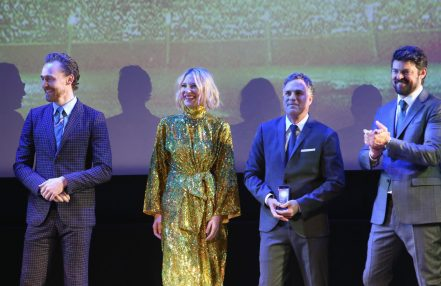 """HOLLYWOOD, CA - OCTOBER 10: (L-R) Actors Tom Hiddleston, Cate Blanchett, Mark Ruffalo and Karl Urban at The World Premiere of Marvel Studios' """"Thor: Ragnarok"""" at the El Capitan Theatre on October 10, 2017 in Hollywood, California. (Photo by Jesse Grant/Getty Images for Disney) *** Local Caption *** Tom Hiddleston; Cate Blanchett; Mark Ruffalo; Karl Urban"""