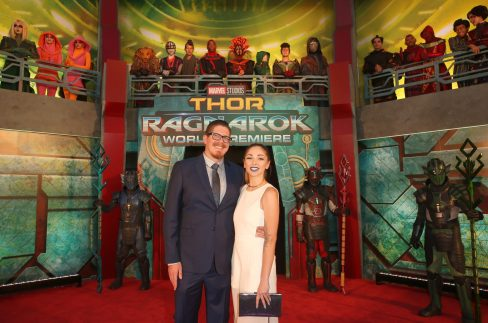 "HOLLYWOOD, CA - OCTOBER 10: Writer Eric Pearson (L) and Kate Pearson at The World Premiere of Marvel Studios' ""Thor: Ragnarok"" at the El Capitan Theatre on October 10, 2017 in Hollywood, California. (Photo by Jesse Grant/Getty Images for Disney) *** Local Caption *** Eric Pearson; Kate Pearson"