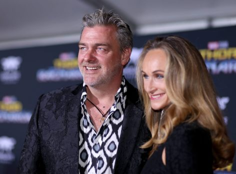 "HOLLYWOOD, CA - OCTOBER 10: Actor Ray Stevenson (L) and Elisabetta Caraccia at The World Premiere of Marvel Studios' ""Thor: Ragnarok"" at the El Capitan Theatre on October 10, 2017 in Hollywood, California. (Photo by Rich Polk/Getty Images for Disney) *** Local Caption *** Ray Stevenson; Elisabetta Caraccia"