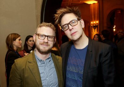 """HOLLYWOOD, CA - OCTOBER 10: Executive producer Jonathan Schwartz (L) and Screenwriter James Gunn at The World Premiere of Marvel Studios' """"Thor: Ragnarok"""" at the El Capitan Theatre on October 10, 2017 in Hollywood, California. (Photo by Jesse Grant/Getty Images for Disney) *** Local Caption *** Jonathan Schwartz; James Gunn"""