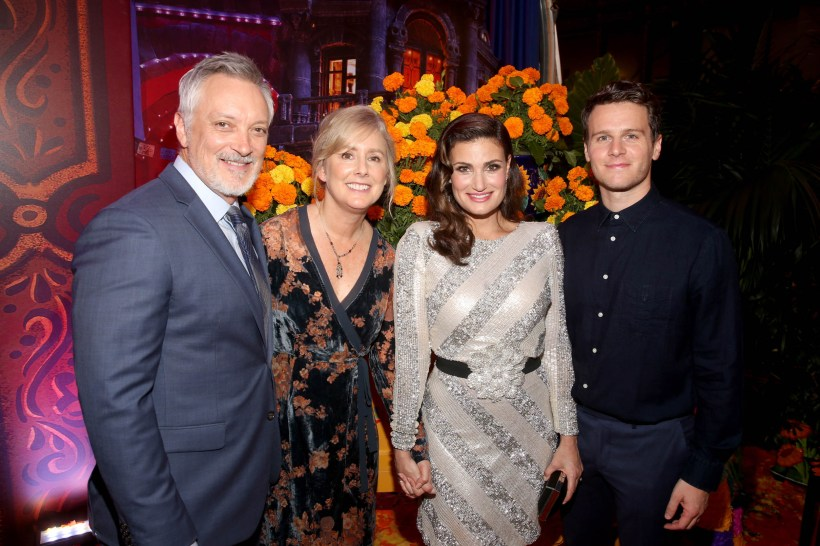 """HOLLYWOOD, CA - NOVEMBER 08: (L-R) Directors Kevin Deters and Stevie Wermers-Skelton, and Actors Idina Menzel and Jonathan Groff of """"Olafís Frozen Adventure"""" at the U.S. Premiere of Disney-Pixarís """"Coco"""" at the El Capitan Theatre on November 8, 2017, in Hollywood, California. """"Olafís Frozen Adventure"""" featurette opens in front of Disney-Pixarís original feature ìCocoî for a limited time. (Photo by Jesse Grant/Getty Images for Disney) *** Local Caption *** Stevie Wermers-Skelton; Kevin Deters; Idina Menzel; Jonathan Groff"""