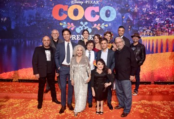 "HOLLYWOOD, CA - NOVEMBER 08: (L-R) Actors Herbert Siguenza, John Ratzenberger, Benjamin Bratt, Renee Victor, Natalia Cordova-Buckley, Anthony Gonzalez, Alanna Ubach, Gael Garcia Bernal, Selene Luna, Blanca Araceli, Edward James Olmos, Jaime Camil, and Lombardo Boyar at the U.S. Premiere of Disney-Pixarís ""Coco"" at the El Capitan Theatre on November 8, 2017, in Hollywood, California. (Photo by Alberto E. Rodriguez/Getty Images for Disney) *** Local Caption *** Herbert Siguenza; John Ratzenberger; Benjamin Bratt; Renee Victor; Natalia Cordova-Buckley; Anthony Gonzalez; Alanna Ubach; Gael Garcia Bernal; Selene Luna; Blanca Araceli; Edward James Olmos; Jaime Camil; Lombardo Boyar"