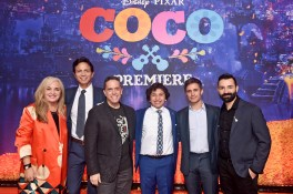 "HOLLYWOOD, CA - NOVEMBER 08: (L-R) Producer Darla K. Anderson, Actor Benjamin Bratt, Director Lee Unkrich, Actors Anthony Gonzalez and Gael Garcia Bernal, and Co-director/Screenwriter Adrian Molina at the U.S. Premiere of Disney-Pixarís ""Coco"" at the El Capitan Theatre on November 8, 2017, in Hollywood, California. (Photo by Alberto E. Rodriguez/Getty Images for Disney) *** Local Caption *** Benjamin Bratt; Darla K. Anderson; Lee Unkrich; Anthony Gonzalez; Adrian Molina; Gael Garcia Bernal"