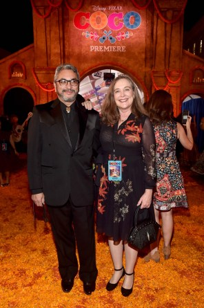 """HOLLYWOOD, CA - NOVEMBER 08: Playwright and film consultant Octavio Solis (L) and guest at the U.S. Premiere of Disney-Pixarís """"Coco"""" at the El Capitan Theatre on November 8, 2017, in Hollywood, California. (Photo by Alberto E. Rodriguez/Getty Images for Disney) *** Local Caption *** Octavio Solis"""