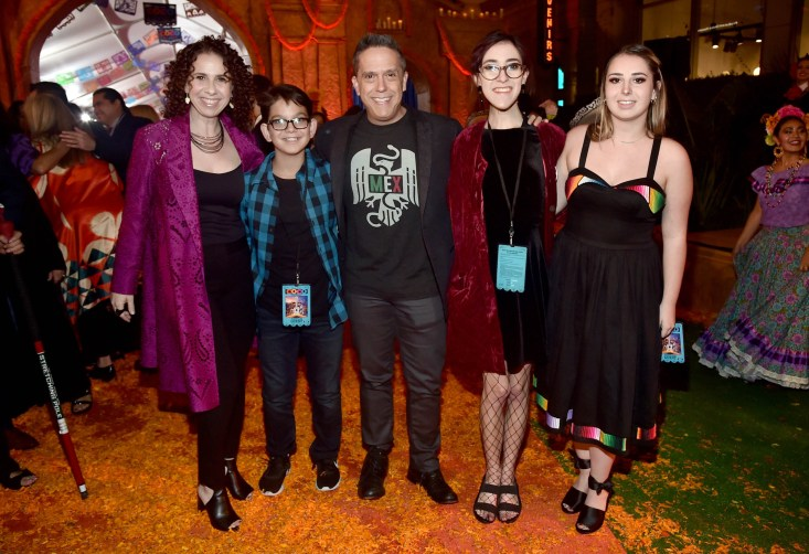 """HOLLYWOOD, CA - NOVEMBER 08: Director Lee Unkrich (C) with family at the U.S. Premiere of Disney-Pixarís """"Coco"""" at the El Capitan Theatre on November 8, 2017, in Hollywood, California. (Photo by Alberto E. Rodriguez/Getty Images for Disney) *** Local Caption *** Lee Unkrich"""