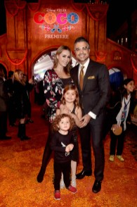 "HOLLYWOOD, CA - NOVEMBER 08: Actor Jaime Camil (R) and family at the U.S. Premiere of Disney-Pixarís ""Coco"" at the El Capitan Theatre on November 8, 2017, in Hollywood, California. (Photo by Alberto E. Rodriguez/Getty Images for Disney) *** Local Caption *** Jaime Camil"