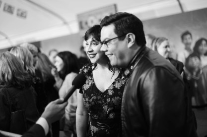 """HOLLYWOOD, CA - NOVEMBER 08: (EDITORS NOTE: Image has been converted to black and white) Songwriters Kristen Anderson-Lopez (L) and Robert Lopez at the U.S. Premiere of Disney-Pixarís """"Coco"""" at the El Capitan Theatre on November 8, 2017, in Hollywood, California. (Photo by Charley Gallay/Getty Images for Disney) *** Local Caption *** Kristen Anderson-Lopez; Robert Lopez"""