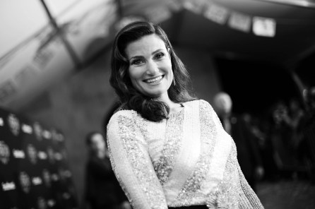 "HOLLYWOOD, CA - NOVEMBER 08: (EDITORS NOTE: Image has been converted to black and white) Actor Idina Menzel of ""Olafís Frozen Adventure"" at the U.S. Premiere of Disney-Pixarís ""Coco"" at the El Capitan Theatre on November 8, 2017, in Hollywood, California. ""Olafís Frozen Adventure"" featurette opens in front of Disney-Pixarís original feature ìCocoî for a limited time. (Photo by Charley Gallay/Getty Images for Disney) *** Local Caption *** Idina Menzel"