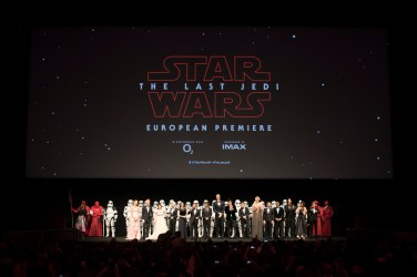 The cast and filmmakers of Star Wars: The Last Jedi attend the European Premiere in the presence of HRH Duke of Cambridge and HRH Prince Harry at the Royal Albert Hall in London, UK on Tuesday 12th December 2017.