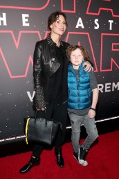 LOS ANGELES, CA - DECEMBER 09: Minnie Driver (L) and Henry Story Driver at Star Wars: The Last Jedi Premiere at The Shrine Auditorium on December 9, 2017 in Los Angeles, California. (Photo by Rich Polk/Getty Images for Disney) *** Local Caption *** Minnie Driver; Henry Story Driver