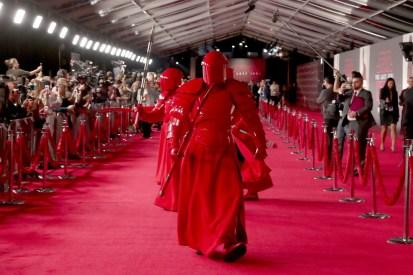 LOS ANGELES, CA - DECEMBER 09: Praetorian Guard at Star Wars: The Last Jedi Premiere at The Shrine Auditorium on December 9, 2017 in Los Angeles, California. (Photo by Rich Polk/Getty Images for Disney) *** Local Caption *** Praetorian Guard
