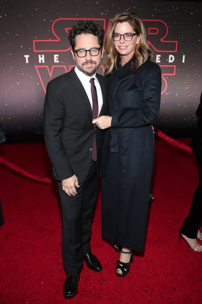 LOS ANGELES, CA - DECEMBER 09: Executive producer J.J. Abrams (L) and Katie McGrath at Star Wars: The Last Jedi Premiere at The Shrine Auditorium on December 9, 2017 in Los Angeles, California. (Photo by Rich Polk/Getty Images for Disney) *** Local Caption *** J.J. Abrams; Katie McGrath