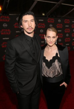 LOS ANGELES, CA - DECEMBER 09: Actor Adam Driver (L) and Joanne Tucker at Star Wars: The Last Jedi Premiere at The Shrine Auditorium on December 9, 2017 in Los Angeles, California. (Photo by Jesse Grant/Getty Images for Disney) *** Local Caption *** Adam Driver; Joanne Tucker