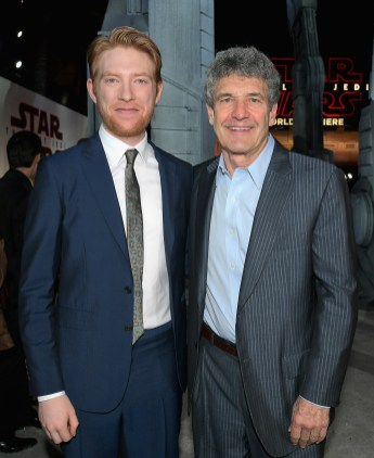 LOS ANGELES, CA - DECEMBER 09: Actor Domhnall Gleeson (L) and Chairman, The Walt Disney Studios, Alan Horn at Star Wars: The Last Jedi Premiere at The Shrine Auditorium on December 9, 2017 in Los Angeles, California. (Photo by Charley Gallay/Getty Images for for Disney) *** Local Caption *** Alan Horn; Domhnall Gleeson