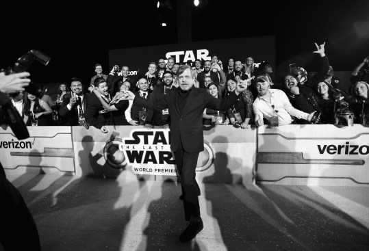 LOS ANGELES, CA - DECEMBER 09: (EDITOR NOTE: This image has been shot in black and white) Actor Mark Hamill at Star Wars: The Last Jedi Premiere at The Shrine Auditorium on December 9, 2017 in Los Angeles, California. (Photo by Charley Gallay/Getty Images for for Disney) *** Local Caption *** Mark Hamill